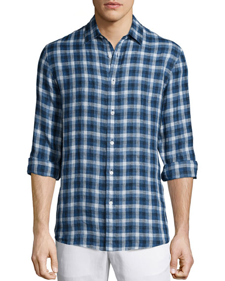 Michael Kors Large-Check Tailored-Fit Shirt, Blue