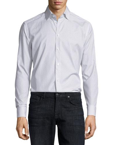 Mini Fish-Print Long-Sleeve Sport Shirt  White Pattern
