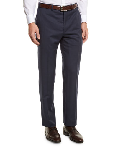 G-Line Sharkskin Flat-Front Trousers, Blue