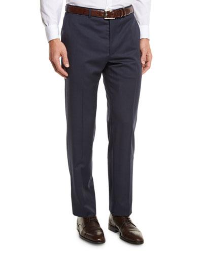 G-Line Sharkskin Flat-Front Trousers, Blue