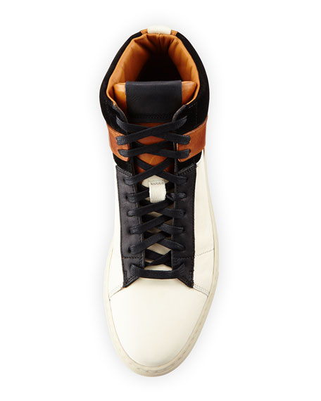 Owen Men's High-Top Sneakers, Off White/Black/Brown