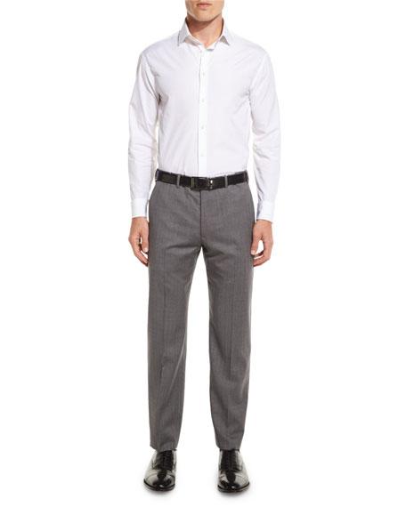G-Line Sharkskin Flat-Front Trousers, Gray