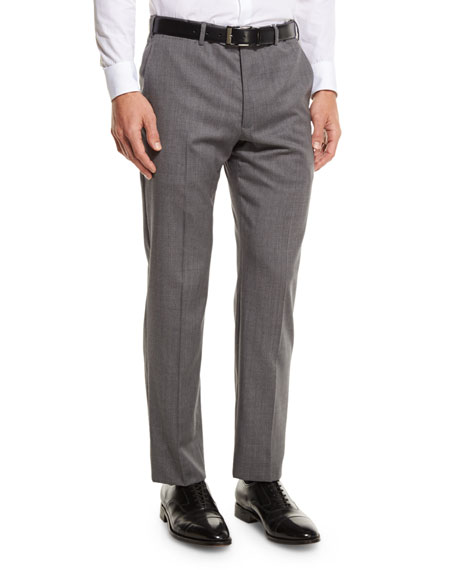 Armani Collezioni G-Line Sharkskin Flat-Front Trousers, Gray