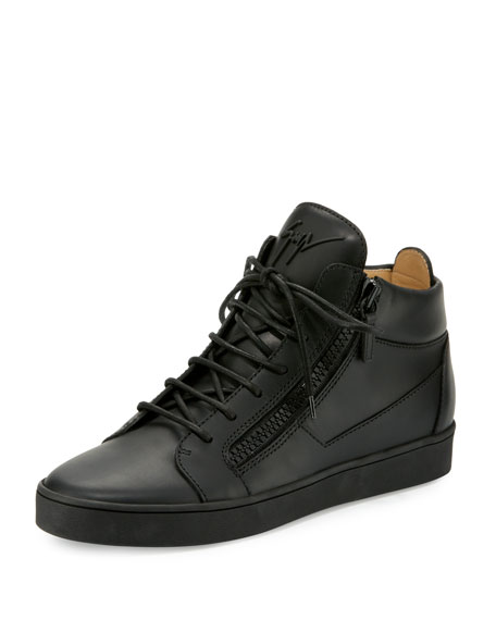 Men's Tonal Leather Mid-Top Sneakers, Black
