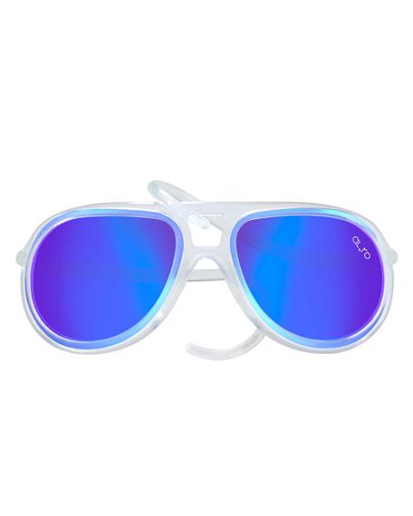 Alero Drop Universal Fit Rubber Aviator Sunglasses, Ice/Blue