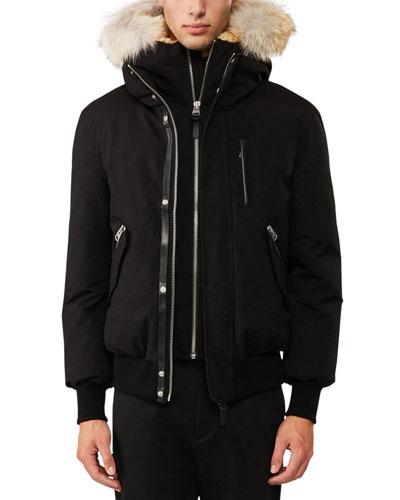 Dixon-C Lux Down Bomber Jacket w/Fur-Lined Hood  Navy