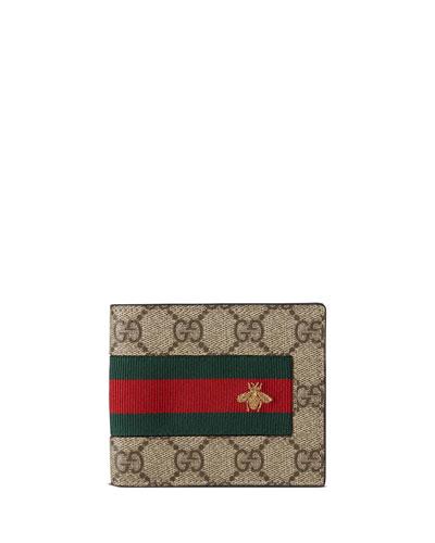 Web GG Supreme Bi-Fold Wallet with Bee  Beige