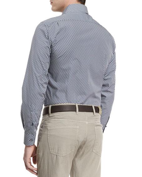 Floral-Print Long-Sleeve Sport Shirt, Navy
