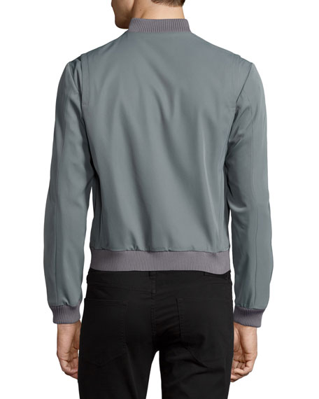 Zip-Front Bomber Jacket, Gray