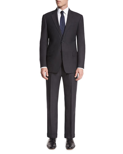 G-Line Textured Super 150s Wool Two-Piece Suit, Charcoal