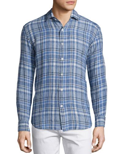 Plaid Linen Long-Sleeve Sport Shirt  Blue