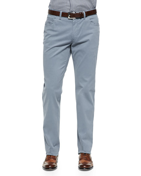 Brioni Five-Pocket Cotton Trousers, Gray