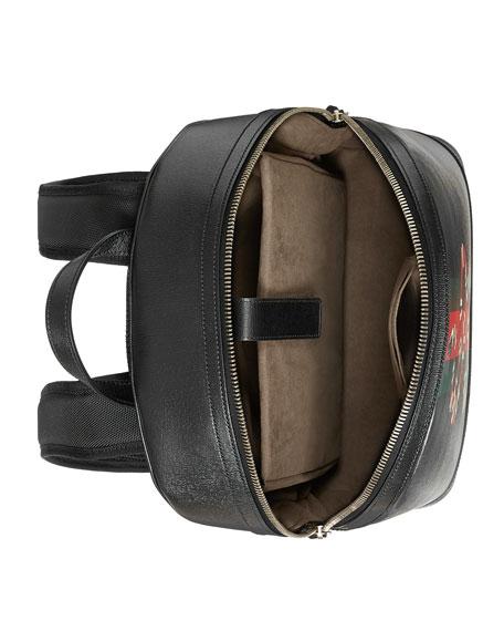 Web & Snake Leather Backpack, Black