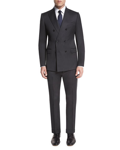M-Line Double-Breasted Super 150s Wool Two-Piece Suit, Charcoal