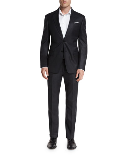 G-Line Striped Super 150s Wool Two-Piece Suit, Charcoal