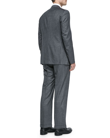 Two-Piece Herringbone Suit, Light Gray