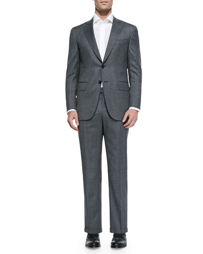 Two-Piece Herringbone Suit, Light Gray