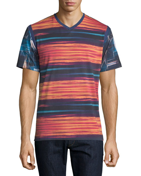 Multi-Printed V-Neck T-Shirt, Multicolor
