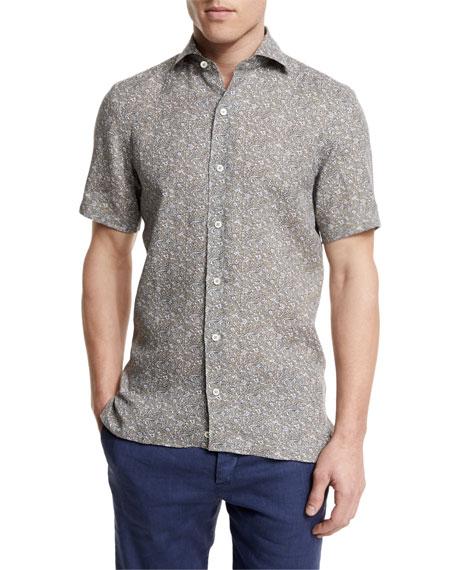 Ermenegildo Zegna Floral-Print Short-Sleeve Linen Shirt, Oatmeal