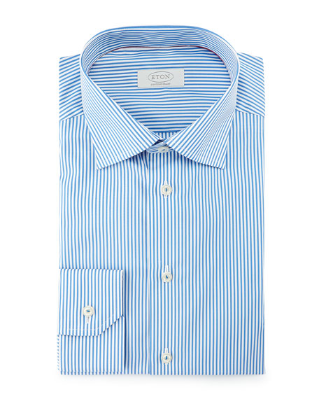 Eton Contemporary-Fit Bengal-Striped Dress Shirt, Blue