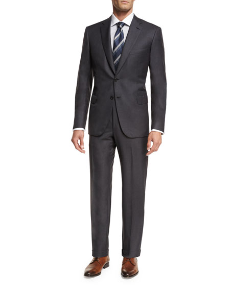 Brioni Essential Virgin Wool Two-Piece Suit, Gray