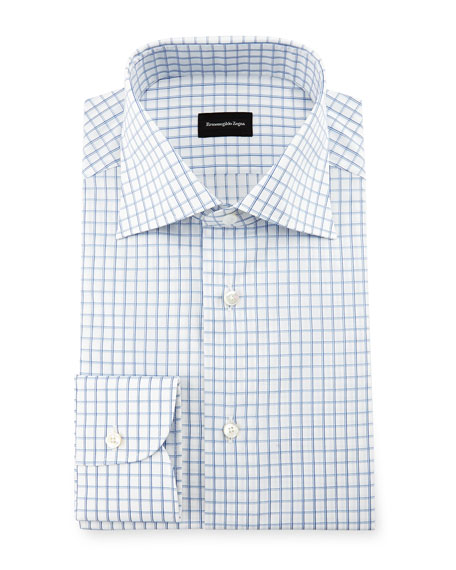 Ermenegildo Zegna Double-Box Check Dress Shirt, White/Blue