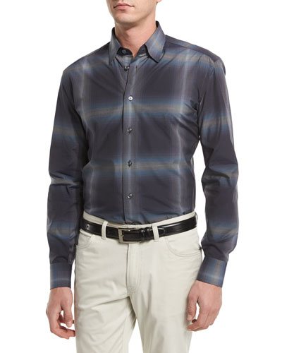 Ombre Mini-Check Sport Shirt