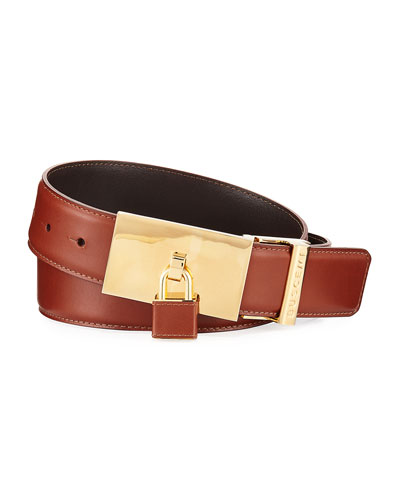Padlock-Buckle Leather Belt