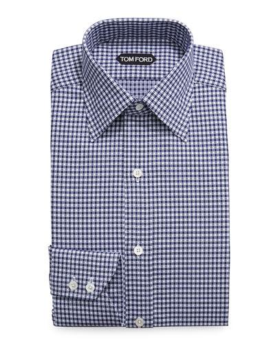 Optical Check Dress Shirt  Navy