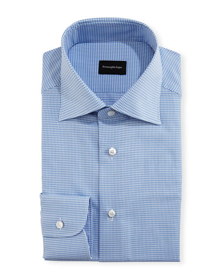 Ermenegildo Zegna Mini-Houndstooth Twill Dress Shirt, Royal/White