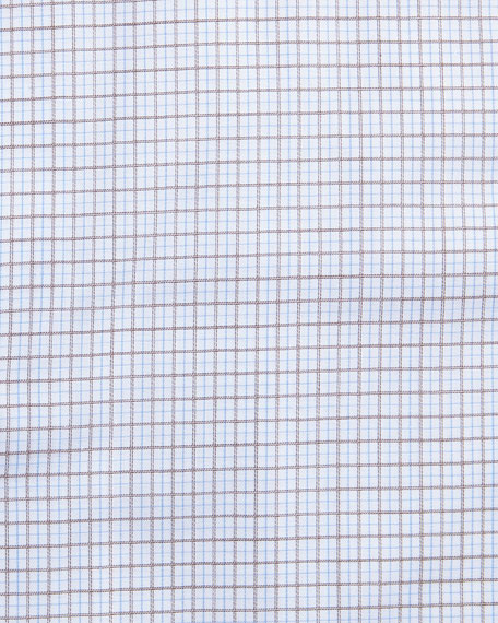 Grid-Check Dress Shirt, White/Light Blue/Brown