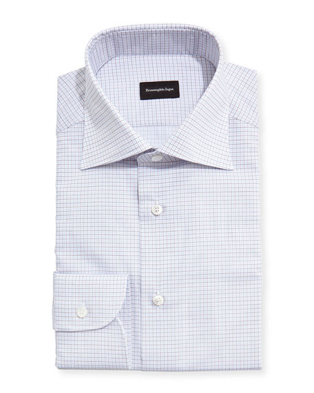 Ermenegildo Zegna Grid-Check Dress Shirt, White/Light Blue/Brown