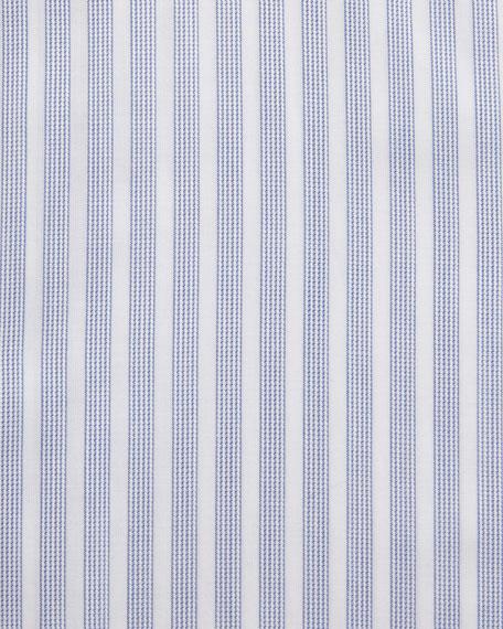 Dotted-Stripe Dress Shirt, White/Blue