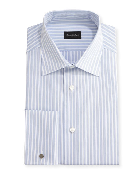 Ermenegildo Zegna Dotted-Stripe Dress Shirt, White/Blue