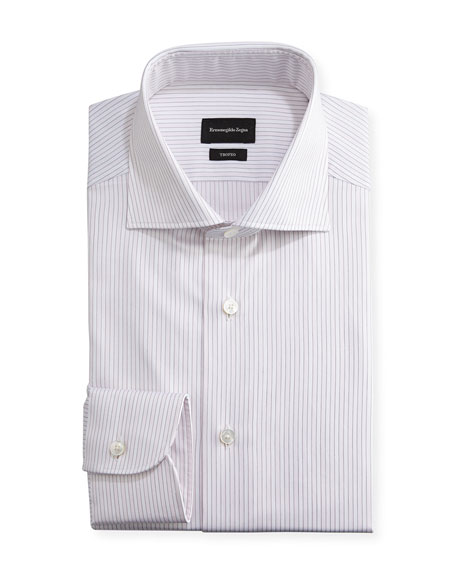 Ermenegildo Zegna Trofeo® Striped Dress Shirt, Pink/White