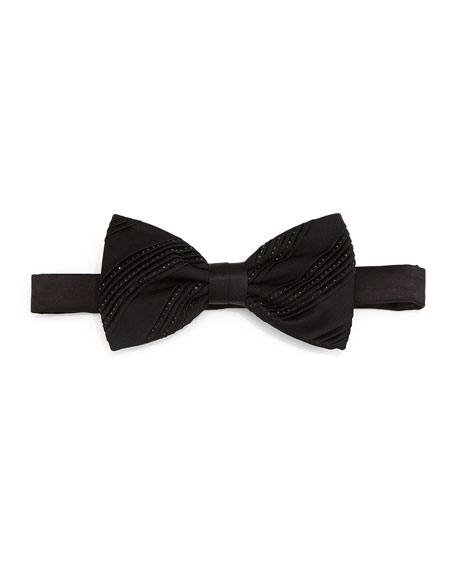 Pleated Crystal Bow Tie, Black