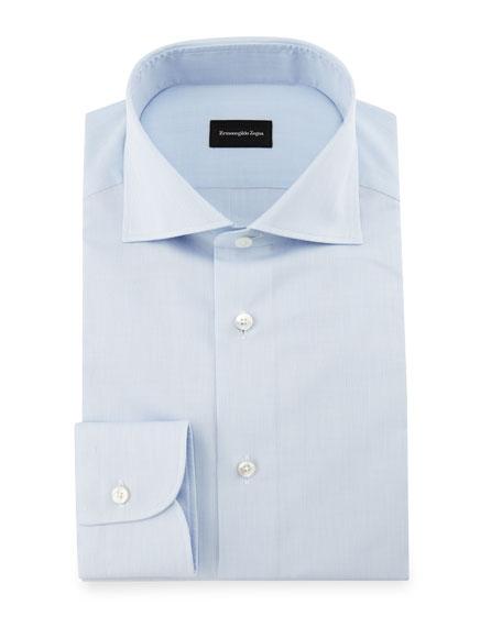 Ermenegildo Zegna Micro-Grid Dress Shirt, Light Blue