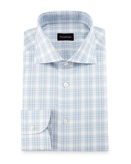 Textured Plaid Dress Shirt, White/Blue