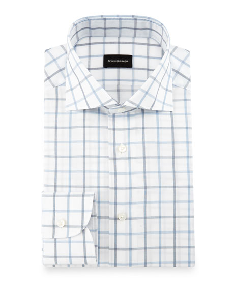 Box-Check Dress Shirt, White/Navy/Blue