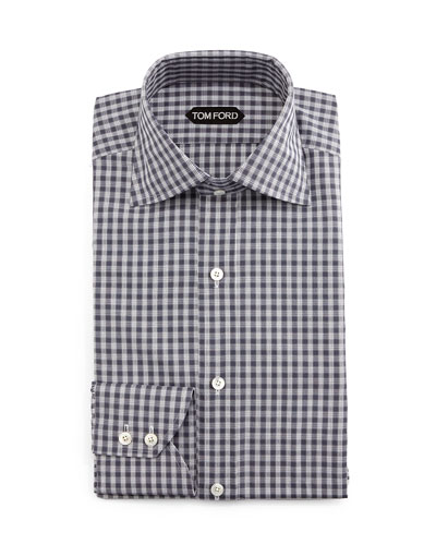 Geometrical-Gingham Dress Shirt, Gray