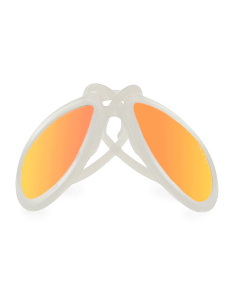 Drop Universal Fit Rubber Aviator Sunglasses, Pearl/Orange