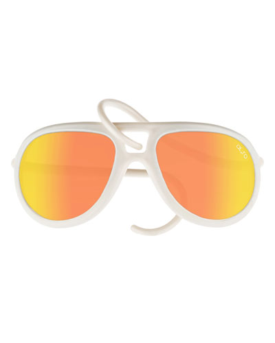 Drop Universal Fit Rubber Aviator Sunglasses, Pearl/Orange