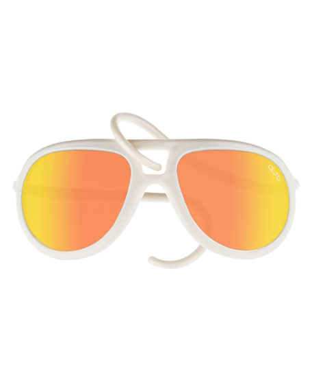 Alero Drop Universal Fit Rubber Aviator Sunglasses, Pearl/Orange
