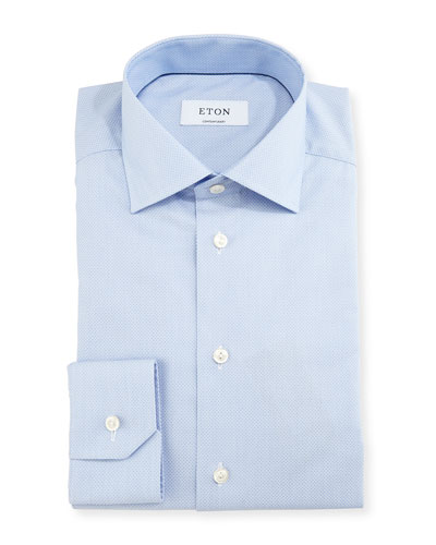 Contemporary-Fit Micro-Pattern Brocade Dress Shirt, Blue