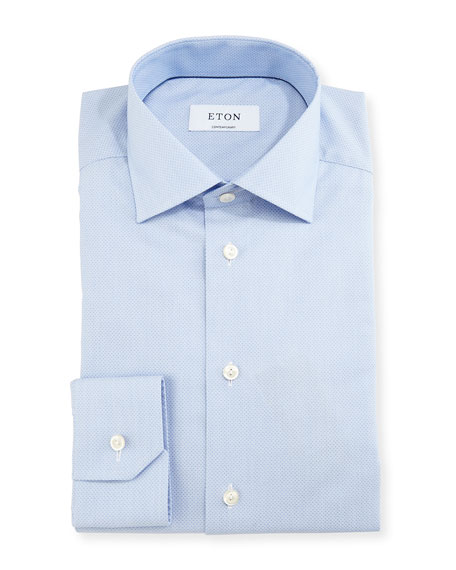 Eton Contemporary-Fit Micro-Pattern Brocade Dress Shirt, Blue