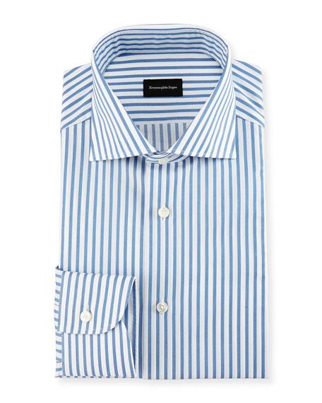 Ermenegildo Zegna Bold-Stripe Dress Shirt, White/Blue