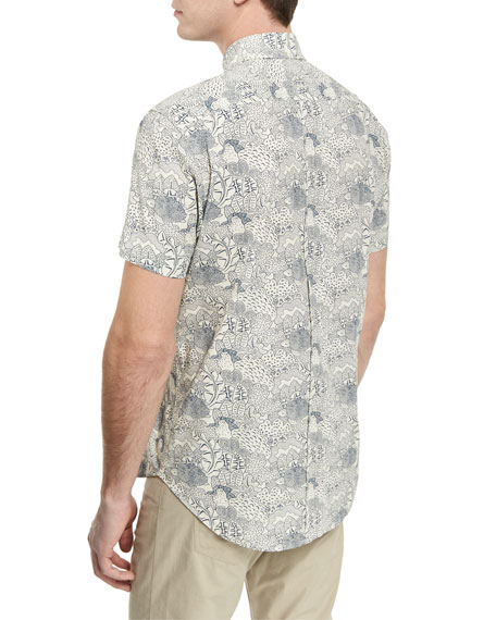 Claud Printed Short-Sleeve Sport Shirt, Blue/White