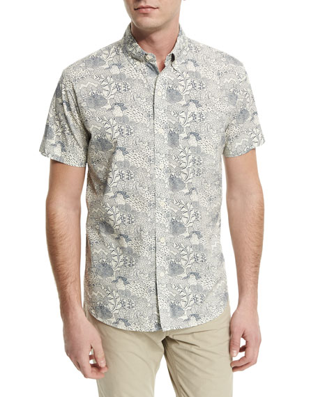 Billy Reid Claud Printed Short-Sleeve Sport Shirt, Blue/White