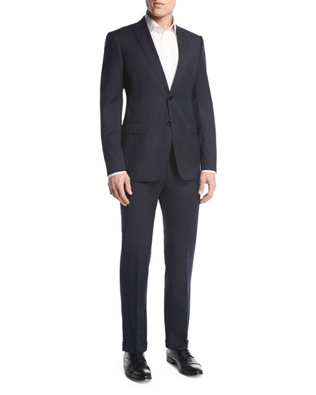 Armani Collezioni Tonal Box Check Two-Piece Suit, Navy