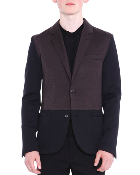 Colorblock Two-Button Knit Blazer, Black/Brown